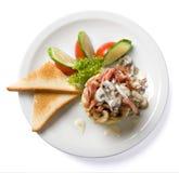 Omelett med skinka och champinjoner Royaltyfri Fotografi