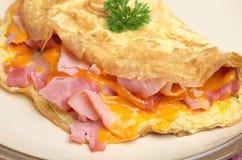 Omelett med skinka & ost royaltyfria foton
