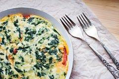 Omelett med spenat Royaltyfria Bilder