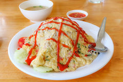 Omelett mit Reis Stockfoto