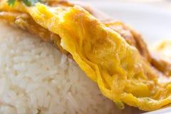 Omelett på ris, mat, ris, guling Arkivbilder