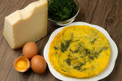 Omelette. With spinach and cheese Stock Images