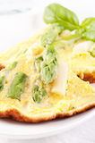 Omelette. With Asparagus as closeup Stock Image