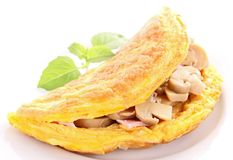 Omelette. Tasty omelette with mushroom and basil Royalty Free Stock Photo