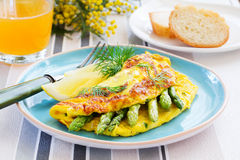 Omelette with asparagus Royalty Free Stock Photography