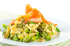 Omelette with asparagus and smoked salmon Stock Photo