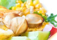 Omelette avec des légumes et le pelmeni rôti Photographie stock libre de droits