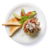 Omelette avec du jambon et des champignons de couche Photographie stock libre de droits