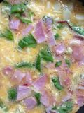 Omelette avec du jambon, la salade et le fromage dans une casserole Images stock