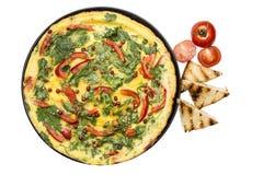 Omelette avec du pain grillé Images stock