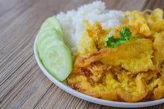 Omelette avec du riz, nourriture thaïlandaise, cette cuisine, déjeuner facile thaïlandais Photos libres de droits