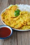 Omelette avec du riz, nourriture thaïlandaise, cette cuisine, déjeuner facile thaïlandais Photo libre de droits