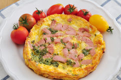 Omelette with bacon Stock Images