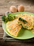 Omelette with broccoli Stock Photo