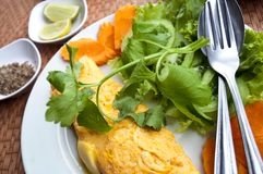 Omelette Cambodian style. Omelette presented Cambodian style at a restaurant royalty free stock photos