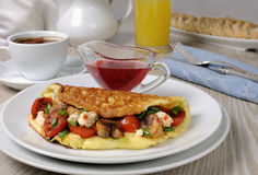 Omelette with cherry tomatoes, mushrooms , feta cheese Stock Photos