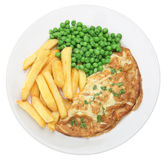 Omelette and Chips. Cheese omelet with chips and peas Stock Image