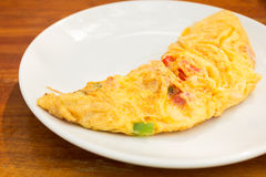 Omelette. Close up omelette and vegetables stock photos