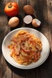 Omelette con i pomodori Fotografie Stock