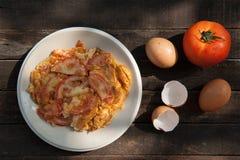 Omelette con i pomodori Fotografia Stock Libera da Diritti