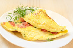 Omelette con i pomodori e le erbe Fotografia Stock