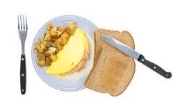 Omelette con il pane tostato del grano intero Immagini Stock Libere da Diritti
