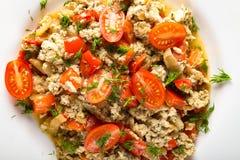 Omelette con il primo piano delle cipolle e dei pomodori dei peperoni dolci Fotografia Stock