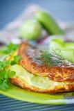 Omelette con lo zucchini Fotografia Stock Libera da Diritti