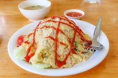Omelette con riso fotografia stock