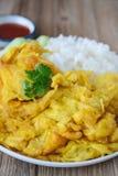 Omelette con riso, alimento tailandese, questa cucina, pranzo facile tailandese Fotografia Stock