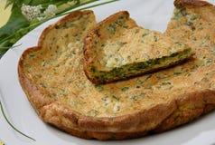 Omelette cuite au four d'oeufs avec des herbes Images libres de droits