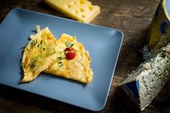 Omelette de formaggi de Quatro Photo libre de droits