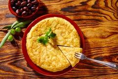 Omelette de pommes de terre de tortilla de patata de Tapas Images libres de droits