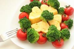 Omelette del cuore Immagine Stock