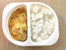 Omelette del gamberetto con riso Immagini Stock