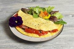 Omelette del pomodoro e degli spinaci Immagine Stock