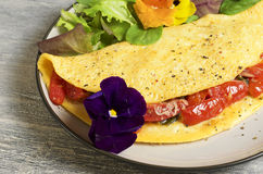 Omelette del pomodoro e degli spinaci Fotografie Stock Libere da Diritti