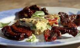 Omelette with dried tomatoes Royalty Free Stock Photo