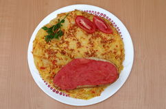 Omelette espagnole ou tortilla Image libre de droits