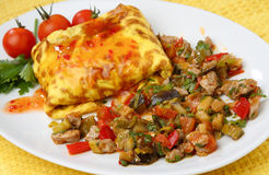 Omelette filled with meat and vegetable. On plate Royalty Free Stock Photos