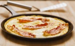 Omelette frite rustique de lard Photo libre de droits
