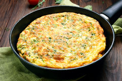 Omelette in frying pan Royalty Free Stock Photo