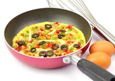 Omelette on frying Pan. Displayed with wire whisk and fresh eggs Stock Images