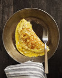 Omelette in a Frying Pan. Fresh Omelette in a Skillet Royalty Free Stock Photos