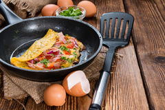 Omelette in a frypan (close-up shot) Royalty Free Stock Image