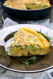 Omelette on glass plate Royalty Free Stock Photo