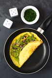 Omelette with Green Bell Pepper and Red Onion Stock Photography