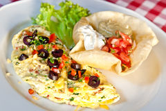 Omelette. With greens, salsa, cheddar cheese, olives and sour cream Stock Images