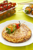 Omelette with grilled vegetable skewer Royalty Free Stock Image
