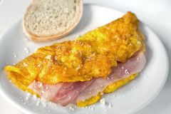 Omelette. With ham and cheese stock image